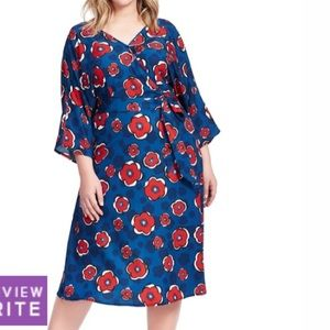 eshakti Dresses - Eshakti Woman Plus floral wrap style dress